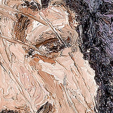 Aus der Nähe bleibt die Ganzheit des Porträts verborgen.