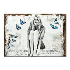 """Devin Miles – Butterflies II - Devin Miles: Der Shootingstar der deutschen """"Modern Pop-Art"""".  Unikatserie aus Malerei und Siebdruck auf gespachtelter Leinwand. 100 % Handarbeit. Masse: 122 x 84 cm"""