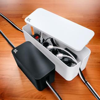 CableBox™ kompakt oder CableBox™ Moderne Design-Boxen verstecken Steckerleisten bis 38 cm (bzw. 20 cm) Länge.