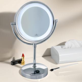 Villeroy & Boch Kosmetikspiegel mit Licht Wertvoll verchromt, mit verzerrungsfreier 3fach-Vergrösserung und heller, blendfreier LED-Beleuchtung.