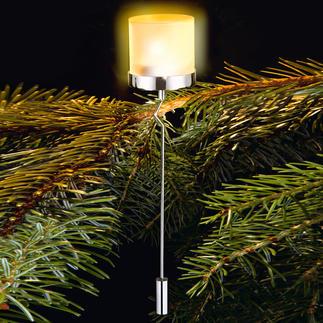 Weihnachtsbaum-Teelichthalter Das warme Leuchten echter Christbaumkerzen – aber sicher abgeschirmt.