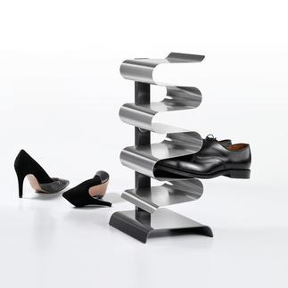 """Schuhregal """"Nest"""" Geniales Edelstahl-Design verstaut elegant 7 Paar Schuhe – auf der Stellfläche von 1 Paar."""
