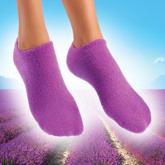 Socken oder Handschuhe mit Pflege-Gel Streichelzart gepflegte Hände und Füsse. Pflegendes Jojoba. Erfrischender Lavendel.