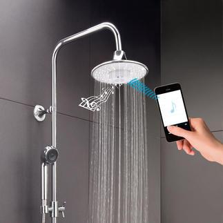 Bluetooth-Regenbrause Geniale Gute-Laune-Dusche: verwöhnt Sie mit Ihrer Lieblingsmusik und belebendem Brauseregen.