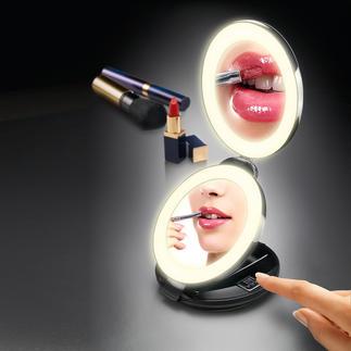 2-in-1-Klappspiegel Handspiegel und 10fach-Vergrösserungsspiegel in Ihrer Hand. Doppelspiegel mit LED-Beleuchtung.