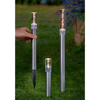 Solar LED Leuchtstäbe, 3er-Set Feinperliges Leuchten verzaubert des Nachts Ihren Garten, Ihre Terrasse.