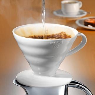 Porzellan-Kaffeefilter Hario Mit intelligenter Rillenstruktur, 60° Neigungswinkel und grosser Durchflussöffnung.