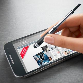 TouchStand® Praktisch 2-in-1: Tippt präzise ohne Spuren. Hält Ihr Smartphone in beliebiger Position.
