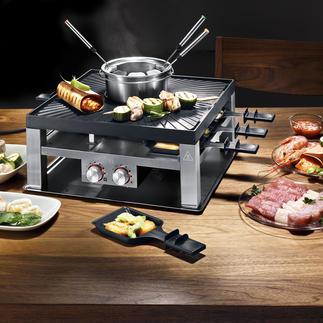 Design-Raclette-/Fondueset Vielseitiger, sicherer und schöner: Fondue, Raclette und Tischgrill in einem.