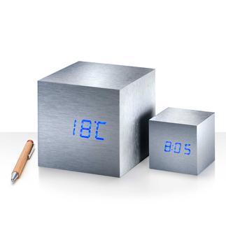Mini oder Maxi Cube Ein Fingerschnipp – und Uhrzeit, Datum, Temperatur erscheinen wie hervorgezaubert.