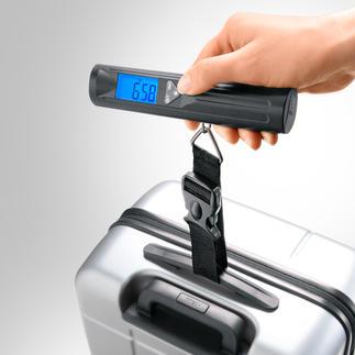 Digitale Gepäckwaage mit LEDs Erspart Ihnen ganz leicht Zusatzkosten für Übergepäck. Wiegt bis 40 kg in präzisen 10-g-Schritten. In einem helle LED-Taschenlampe.