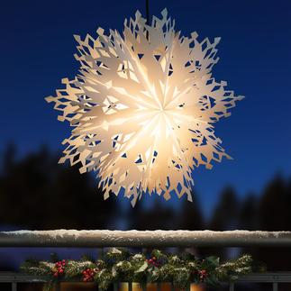 Leuchtende Schneeflocke XXL-Format. Filigranes Scherenschnitt-Muster. Topaktuell für drinnen und draussen.