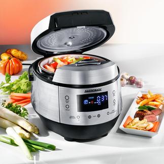 Gastroback Multicook Plus Genial: Dampfgarer, Fritteuse, Slow Cooker, Brotbäcker, Reiskocher und Joghurtbereiter.