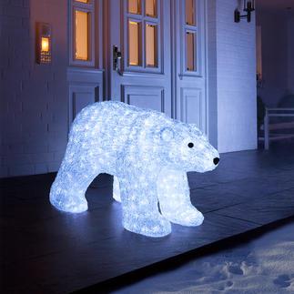LED-beleuchteter Polarbär Glitzernd wie Eis. Und auf Wunsch sensationell illuminiert. Eine majestätische Erscheinung drinnen und draussen.