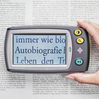 Digitallupe mit Display Kleingedrucktes lesen - ganz bequem. Vergrössert 5- bis 28fach. Oder bis zu 250fach auf Ihren TV-Bildschirm.