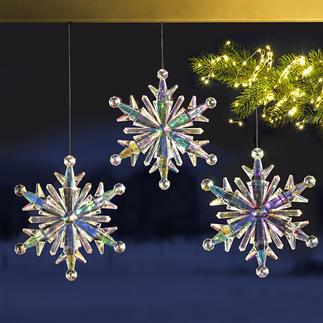 Regenbogen-Eiskristall, 3er-Set Prächtige Eiskristalle aus irisierendem Acryl: Schillernder Blickfang Ihrer Winterdekoration.