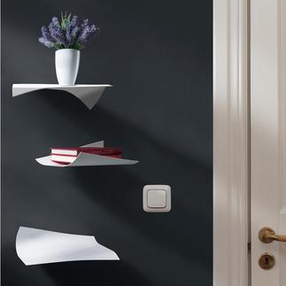 Blow Design-Wandregal, 3er-Set Fliegende Blätter – faszinierendes Wandregal. Zart wie Papier – aber hochfest, aus pulverbeschichtetem Stahl.