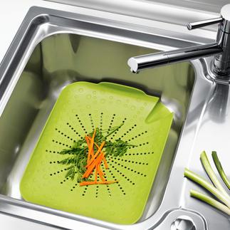 Küchenspülen-Sieb Alles in die Spüle – und mit einem Griff wieder heraus. Ihre Hände – und Ihre Küche – bleiben sauber.