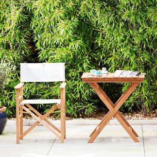 Teak-Regiesessel oder Klappbarer Teaktisch Viel komfortabler (und schöner): der Regiesessel aus edlem Teak. Für drinnen und draussen.