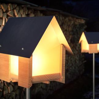 Lichthaus Spektakuläres Lichthaus statt einfaches Windlicht. Moderne Architektur aus Massivholz, Edelstahl und Acrylglas.