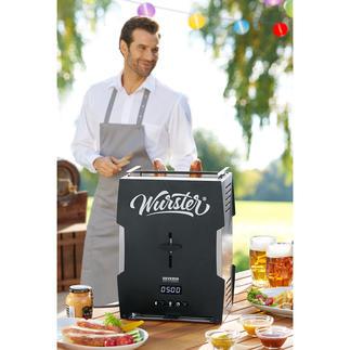Würstchen-Toaster Knusprig-braune Grillwürste. In 5 Minuten. Auf Knopfdruck. Der vollautomatische Würstchen-Toaster: genial praktisch, sauber, schnell. Und ein cooler Party-Gag.