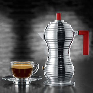 """Alessi Espressokocher """"Pulcina"""" Alessis schönster Espressokocher. Mit dem Know-how von Illycaffè. """"Pulcina""""(Küken) ist das Produkt 15 Jahre langer Entwicklungsarbeit aus Italien."""