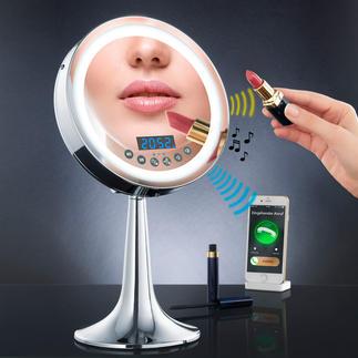 Beleuchteter Multimedia-Spiegel Mit Bluetooth-Speaker, Radio, Freisprech-Einrichtung, Uhr und sensorgesteuertem LED-Licht.