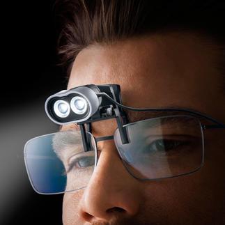 LED-Headlight mit Brillenclip oder Tragegestell 3.200 Lux Flutlicht bei allen Feinarbeiten. Und beide Hände frei.