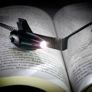 """LED-Akku-Leselicht """"Nachteule"""" Jetzt mit Lithium-Ionen-Akku – kein lästiges Batteriewechseln mehr."""