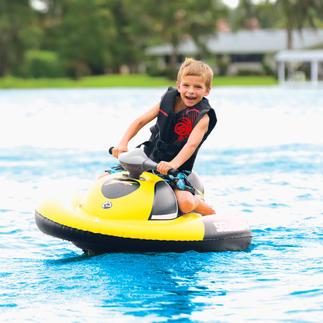 Aufblasbarer Wasserscooter Einfach aufblasen – schon beginnt der Spass. Mit Akku für 60 Minuten Fahrspass. Trägt bis zu 70 kg.