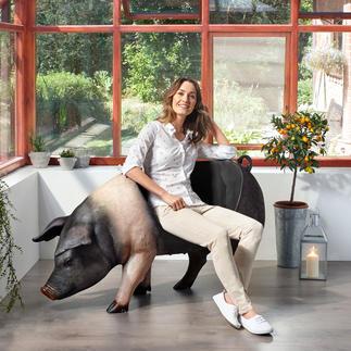 Sitz-Schwein Drinnen und draussen spektakulär – als Dekoration, Ablage oder Sitz mit Witz.