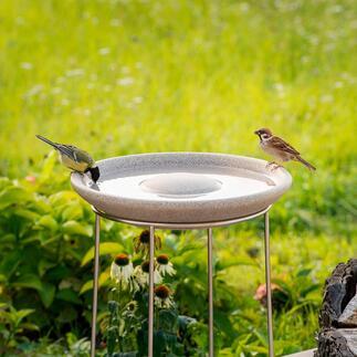 Granicium®-Vogeltränke mit Edelstahl-Ständer Selten: Eine Vogeltränke in modernem Design. Aus handgefertigtem Granicium® und rostfreiem Edelstahl.