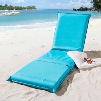 3-in-1 Strandmatte Eine Liegematte mit 5fach verstellbarem Rückenteil und besonders variabler, geteilter Liegefläche.
