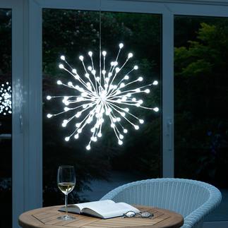Kugellichter-Leuchte Silbrige Äste, individuell formbar - für drinnen und draussen.