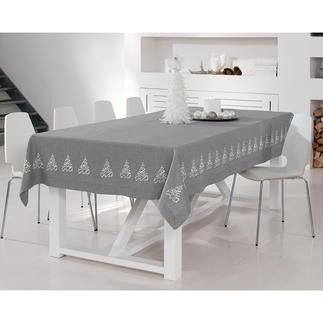 Maschinenbestickte Tischdecke Elegante Leinenoptik. Dekorative Stick-Bordüre – ohne jeden Kitschverdacht.