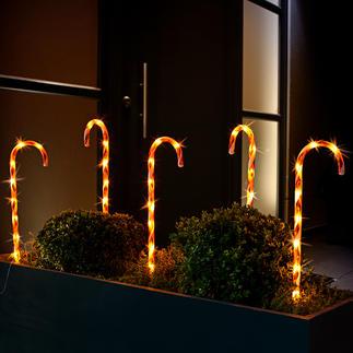 LED Zuckerstangen, 5er-Set Im Ensemble bilden die 5 Leuchtstäbe eine effektvolle Umrandung für Bäume, Beete und Rabatten.