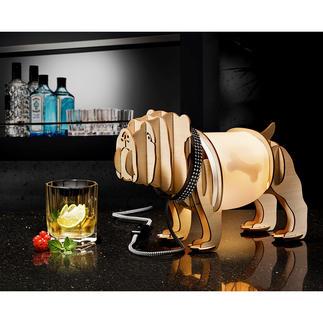Holzleuchte Mops Modehund Mops: Hier minimalistische Holzskulptur und originelle Design-Leuchte zugleich.
