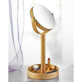 Kosmetikspiegel Close Up Wende-Kosmetikspiegel mit elegantem Eichenholz-Rahmen und extra grossem Ablagefuss.