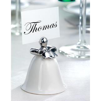 Alessi Tischkartenhalter, 4er-Set Feines Porzellan, zarter Glockenklang. Elegant von Hand in Silber dekoriert. Kreiert von Stardesigner Marcel Wanders.