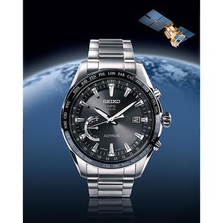 Seiko Astron GPS Solar World Time Der Ur-Klassiker der Weltenbummler – jetzt aufgestiegen in die Business-Class. Flacher. Klarer. Eleganter.