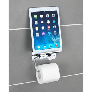 """WC-Rollenhalter """"Multimedia"""" Mit rutschsicherer Ablage für Smartphone oder Tablet."""