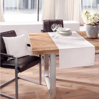 Asanoha-Tischwäsche Eine Tischdecke wie ein Kimono. Pflegeleicht durch fasertiefen Fleckschutz. Wahlweise mit passenden Kissen.