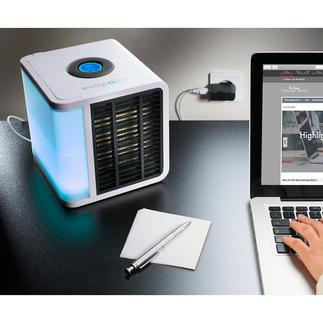 Personal Air-Cooler Das wohl kleinste Klima-Gerät der Welt. Kühlt, befeuchtet und reinigt die Luft im Bereich von 3.4 m³.