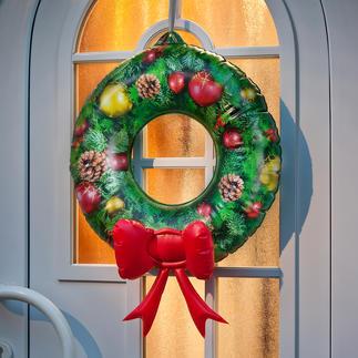 Aufblasbarer Türkranz So einfach und doch so eindrucksvoll. Weihnachtsdekoration in Sekundenschnelle. Alle Jahre wieder.