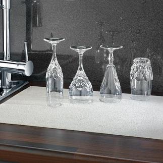 Gläser-Abtropfmatte Extra dünn für sicheren Stand. Extra saugstark für randfreie Trocknung. Antibakteriell durch Kupfer.