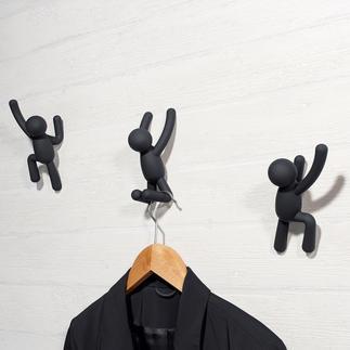 """Garderobenhaken """"Kletterer"""", 3er-Set Modernes Kunstobjekt oder kunstvolle Wandgarderobe? Beides!"""