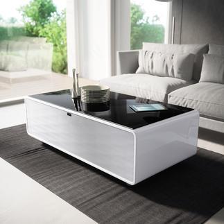 Smart-Minibar Kühle Getränke und satter Sound – direkt aus Ihrem Couchtisch. Entspannen und Geniessen, ohne aufzustehen.
