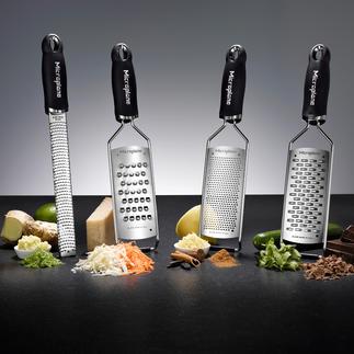 Microplane®-Küchenreiben Dauerhaft messerscharfe photochemisch geätzte Klingen: schneiden präzise und hauchfein statt zu reissen.