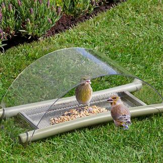 Boden-Vogelfutterstelle Füttern. Schützen. Beobachten. Idealer Futterplatz für viele heimische Vogelarten: raffiniert konstruiert, einfach zu reinigen.