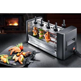 Stöckli easyGrill Fun-Cooking neuester Stand: der geniale easyGrill für drinnen und draussen. Köstlich gegrillte Mini-Spiesse. Direkt am Tisch. Ohne Rauch.